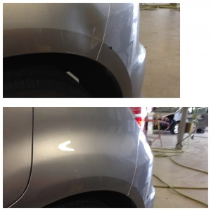 A dent above the rear wheel - before and after paintless dent repair