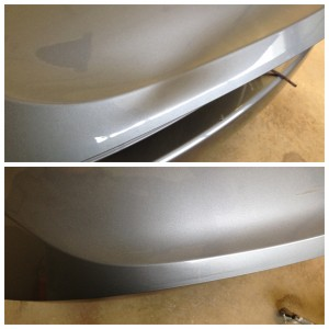 A dent on the bumper - before and after paintless dent repair