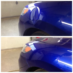 A dent on the driver's side fender - before and after