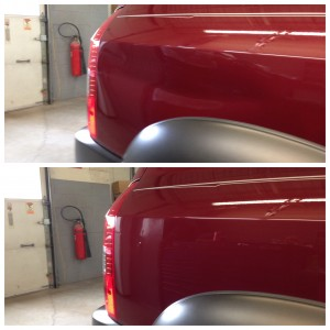Dent in the side of a truck - before and after paintless dent repair