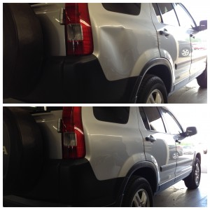 Large cave-in on the passenger side quarter panel - before and after paintless dent repair