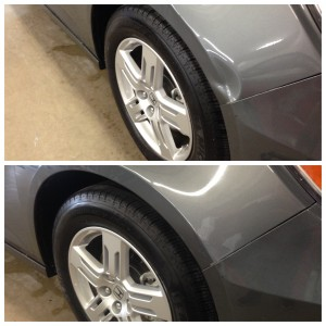 A dent above the front passenger wheel before and after paintless dent repair