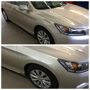 A large caved in dent - before and after paintless dent repair